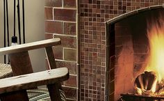 Two size tile fire place