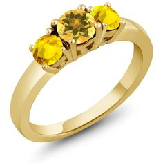 "1.17 Ct Round Yellow Citrine Yellow Sapphire 925 Yellow Gold Plated Silver Ring. ELEGANT- And sophisticated this gorgeous ring promises a carefree and comfortable wear. It's design is meant to accentuate the fingers beautifully. PURE PERFECTION- This ring is perfect for professing your affections for that special someone or as a just ""Thinking of you"" gift. It can be worn with any outfit and is a truly gorgeous addition to any jewelry collection. MESMERIZING DESIGN - This design is Sleek…"