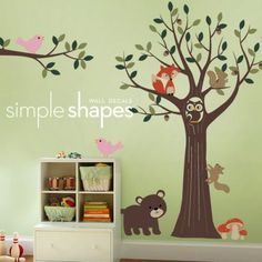 Tree with Forest Friends Decal Set - Kids Nursery Room Wall Decal