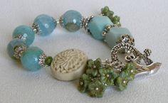 Aqua Agate Handmade Beaded Bracelet by bdzzledbeadedjewelry, $31.00