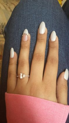 Soft White almond shaped nails. Obsessed.