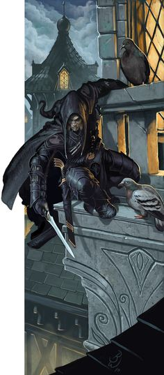 "*Andrus the ""Black Spider"", human, rogue, invader and hit man. His magic cloak *Arach, gives him special spider skills."