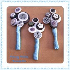 Blue and Grey Buttonholes handmade by Fancy Pants Bouquets #buttonholes #fancypantsbouquets #weddings #groom #buttons