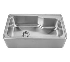 Noah's Collection single bowl drop-in sink with a seamless customized front apron WHNAPB3016 #Whitehaus #stainlesssteel #sink #dropin
