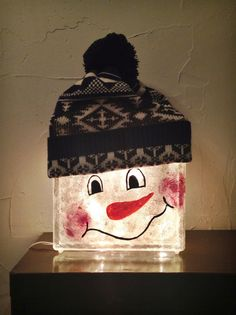 Snowman Light Up Glass Block by CharlenesCraftCorner on Etsy
