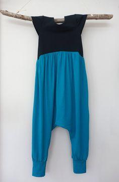 Romper Harem Jumpsuit, Girls, Toddler, Kids, Pima Cotton, Rayon Jersey, Black, Teal Green, Handcrafted, 2T, 3T, 4T, 5, 6, Unique, Boho
