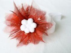 Śliczna opaska na święta czerwona biała śnieżki - MadebyKaza - Opaski dla niemowląt