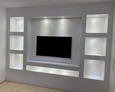 Tv Wall Shelves, Built In Shelves Living Room, Feature Wall Living Room, Living Room Wall Units, Living Room Tv Unit Designs, Ceiling Design Living Room, Bedroom False Ceiling Design, Tv Wall Design, Home Room Design