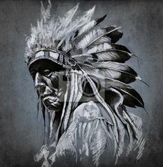 Wall Mural Tattoo art, portrait of american indian head over dark backgroun