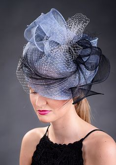 Blue grey blue fascinator hat for weddings Kentucky by MargeIilane, $159.00