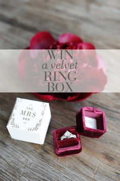 The Mrs. Box giveaway | Win a velvet engagement ring box! http://styleunveiled.com/velvet-engagement-ring-boxes/