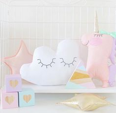"""Handmade Heart Shop on Instagram: """"Perfect Pastel Pretties featuring our """"Lilly"""" Unicorn by @macyhandmade. We love to see how our Unicorns are being styled in your inspiring homes, nurseries and everywhere else-pease please please keep tagging us in your photos so we can share too! Cloud/Stars by @macyhandmade Wooden blocks by @poppy_and_peach Unicorn by @handmadeheartshop via @raggedyeve @macyhandmade  #handmade #pastel #unicorn #cloud #wooden #stars #blocks #kids #igkids #igers #instamood"""