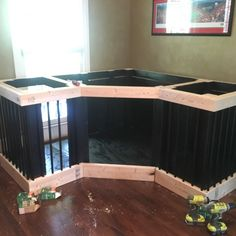 We wanted to build a dog crate that was big enough for our two German Shepherds, had both inside and outside access (through the dog door), and would blend in as normal furniture. Dog Kennel Cover, Diy Dog Kennel, Dog Kennels, Diy Dog Crate, Large Dog Crate, Dog Crate Furniture, Furniture Ideas, Tough Dog Toys, Food Dog