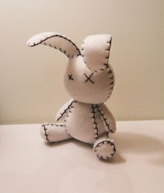 Felt little goth white rabbit plush stuffed toy