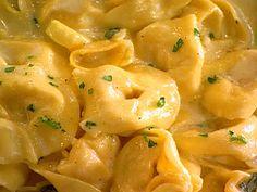 Get Tortellini With Pumpkin Alfredo Sauce Recipe from Food Network Tortellini Bake, Tortellini Recipes, Cheese Tortellini, Pasta Recipes, Recipe Pasta, Sausage Pasta, Pumpkin Recipes, Fall Recipes, Dinner Recipes