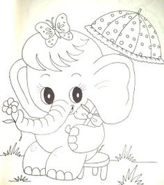 Easy Coloring Pages, Free Adult Coloring Pages, Coloring Books, Baby Embroidery, Embroidery Patterns Free, Baby Elephant Images, Elephant Coloring Page, Painted Rug, Fairy Crafts