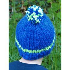 Bonnet bleu roi   vert fluo pour garçon en grosse laine 6592da12ad5