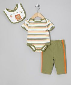 Olive King Of The Jungle Layette Set by Petite Bears on #zulily today!  $11.99