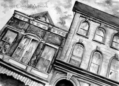 "Fine Art Print from Original Watercolor by ImagoCustomArtwork - ""Wilmington Watercolor""  Historic house fronts on main street in downtown Wilmington Ohio"