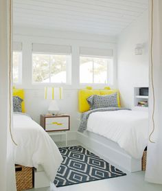 Beach House, Loft, Yellow, Nautical, White, Painted Floors, Built-in Beds | Rethink Design Studio | Joel Snayd