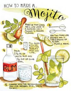 How to Make a Mojito Illustration Art Print / Recipe Art / How To / Bartender Gift / Kitchen Art / Watercolor Kitchen / Handlettered Art Comment faire une impression / recette d'art Mojito Illustration Party Drinks, Cocktail Drinks, Fun Drinks, Alcoholic Drinks, Beverages, Bartender Drinks, Bartender Recipes, Cocktail Gifts, Mexican Cocktails