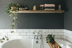 Reclaimed Scaffolding Shelf - Decorating A Small Bathroom With Dark Colours To Give A Cosy Vibe