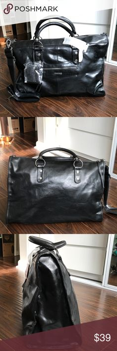 """NWT VICTORIA'S SECRET Faux Leather Travel/Gym Bag NWT Victoria's Secret Black Faux Leather Travel/Gym Bag is in pristine condition.  Zipper is a bit rough to zip might need oil. Zipper closure, Outside pocket with zipper closure, Inside pocket with zipper closure. Interior pink cloth. Logo & baggage tag is still covered with plastic.  Outer bag measurements: 19.5"""" x 14"""" x 6"""" Adjustable shoulder strap is included. Victoria's Secret Bags Travel Bags"""