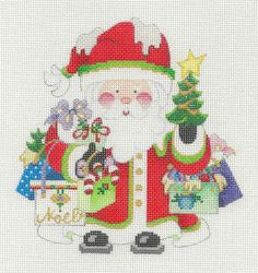 Strictly Christmas Shopping Santa Gift Bags Handpainted HP Needlepoint Canvas | eBay $58