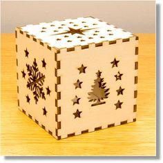 Laser Cut Wooden Christmas Light Box