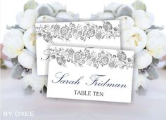 Printable wedding place cards template  Gray Floral by Oxee, $7.00