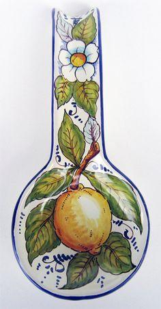 Italian pottery. Spoonrest. Lemon by FerrignoCeramiche on Etsy