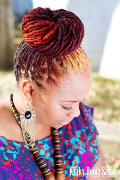 This #Multicolored #NaturalHair #Bun is so fresh! #locs
