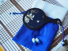 Pocket Mirror, Korean Mirror, Cobalt Royal Blue Pouch, Korean Hanji Paper, Blue Black Gold Lotus Flower, Korean Knots, Mother's Day Gift by papertreeshop on Etsy