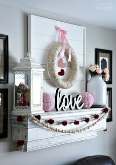 Valentine's Day Mantel and Vignette – A Wonderful Thought – Valentines Day Gift Ideas Valentines Day Decorations, Valentines Day Party, Valentine Day Crafts, Love Valentines, Holiday Crafts, Holiday Fun, Holiday Decor, Valentine's Day Diy, Seasonal Decor