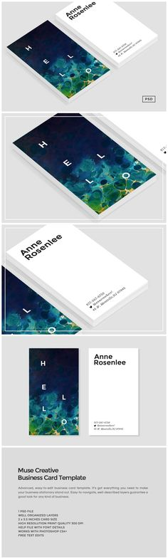 Muse Business Card Template by The Design Label on @creativemarket