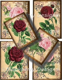 Collage Sheet Tissue Paper Beautiful Roses by GlindaCollageSheets, $4.99
