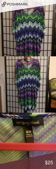 Colorful geometric plus sized dress size 16W Colorful geometric plus sized dress size 16W in great condition. Has bat wings and is by the brand intriguing threads intriguing Threads Dresses Midi