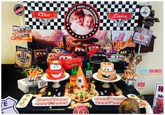 Magnetika Party By Sol Hana H's Birthday / Cars (Disney movie) - Photo Gallery at Catch My Party Pixar Cars Birthday, Cars Birthday Parties, 3rd Birthday, Birthday Ideas, Dessert Table Backdrop, Dessert Tables, Cars Party Favors, Party Themes, Party Ideas