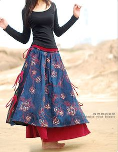 denim maxi skirt by xiaolizi in Zhengzhou, China