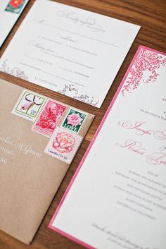 Love the invitations and the stamps! By Little Miss Press via Style Me Pretty ~ Photography by katewebber.com