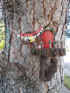 Cutest Fairy Garden!  Miniature Bunting Banner Fairy Door in Tree Fairy Garden Window Fairy garden ideas