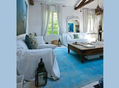Turquoise, white and wood.