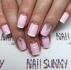 Beautiful nails, Beautiful nails 2016, Boon nails with rhinestones, Elegant nails, French manicure with rhinestones, French with rhinestones, Gentle half moon nails, Gentle moon nails