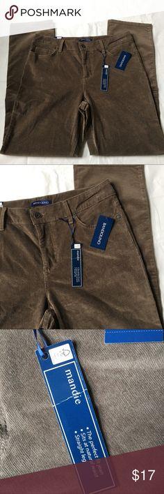 "NEW Mushroom Gray Corduroy Pants SZ 10 Brand new with tags. Nice mushroom gray color. Waist is 16"" across, rise 10.5"", inseam 30.5."" Retail $55.99. Price is firm. Bandolino Pants Straight Leg"