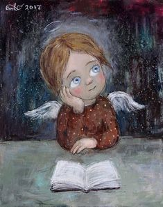Mirada de Mujer Pebble Painting, Painting & Drawing, Art Deco Illustration, Christmas Icons, Angel Pictures, Angel Art, Illustrations And Posters, Whimsical Art, Painting For Kids
