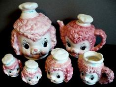 Pink Poodle Lefton Anthropomorphic Kitchen Set. Priority: Med