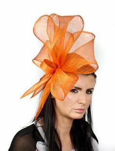 Hats By Cressida Bucks Fizz Sinamay Ascot Fascinator Hat Women's With Headband - Orange