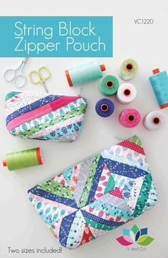 string block zipper pouch in two sizes
