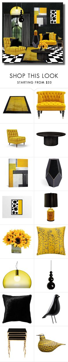 """""""The yellow & black room"""" by kelly-floramoon-legg ❤ liked on Polyvore featuring interior, interiors, interior design, home, home decor, interior decorating, WALL, Joybird, Gubi and iCanvas"""
