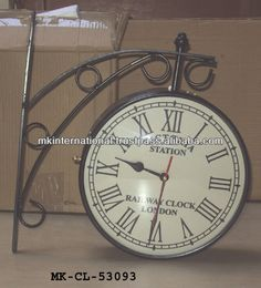 wrought iron double side station clock buy iron outdoor clockdouble sided clocktwo face clock product on alibabacom